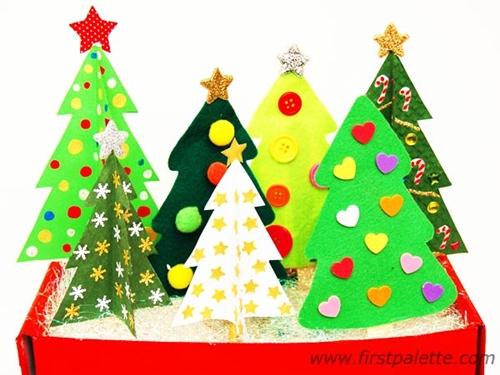 arboles Manualidad fácil y bonita para Navidad