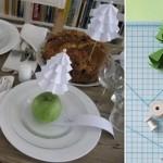 Decoración Navideña con papel y manzanas