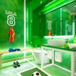 Decoración de baño infantil para futboleros