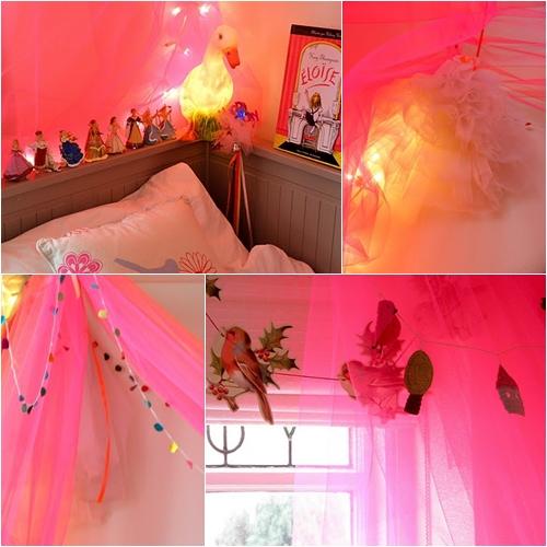 Dormitorio infantil con tul fucsia decopeques - Habitacion infantil rosa ...