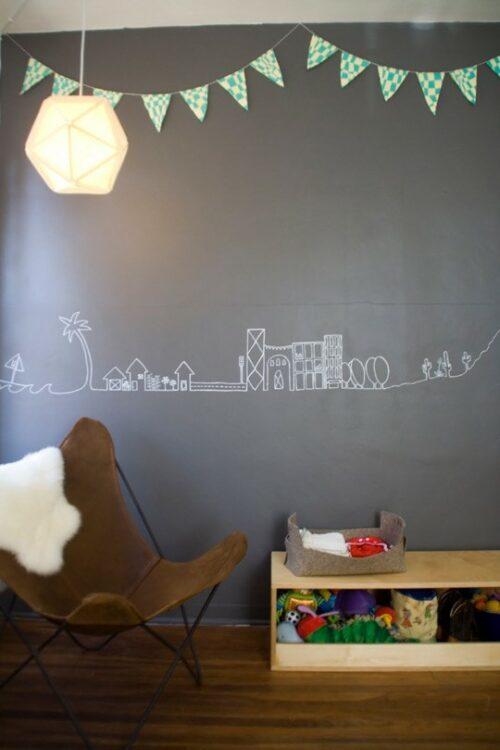 Paredes con pintura de pizarra para habitaciones de ni os - Pared pizarra ninos ...