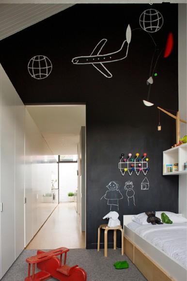 Paredes con pintura de pizarra para habitaciones de ni os - Pintura para dormitorios infantiles ...