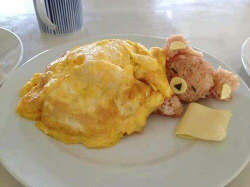 Hoy de cena... Osito dormilón de tortilla y arroz