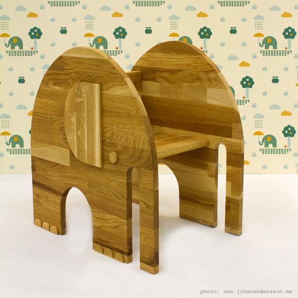 Papel pintado infantil y taburete elefante for Muebles elefante