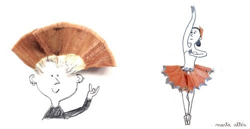 Dibujos creativos con peques con restos de sacapuntas3 Dibujos creativos con restos de sacapuntas
