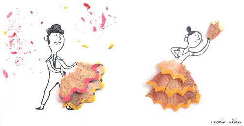 ilustracion torero sevillana con restos sacapuntas marta altes Dibujos creativos con restos de sacapuntas