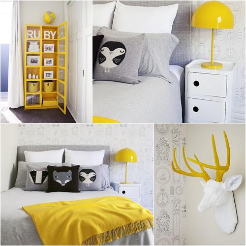 Habitacion de ni a en amarillo y gris for Chambre garcon jaune et grise