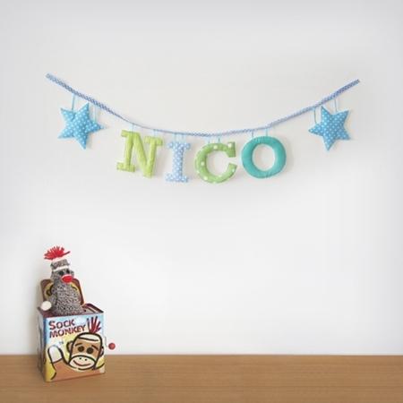 guirnaldas letras niños Guirnaldas de letras de tela para la habitación de los niños