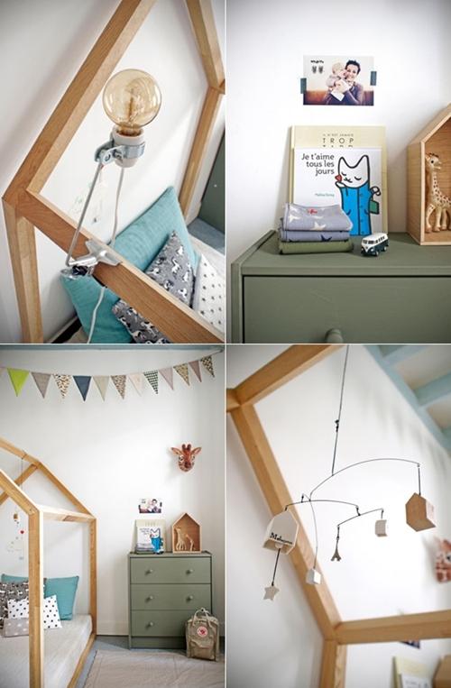 habitacion infantil casita 21 Una cabaña en la habitación infantil