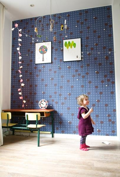 papel pintado infantil azul