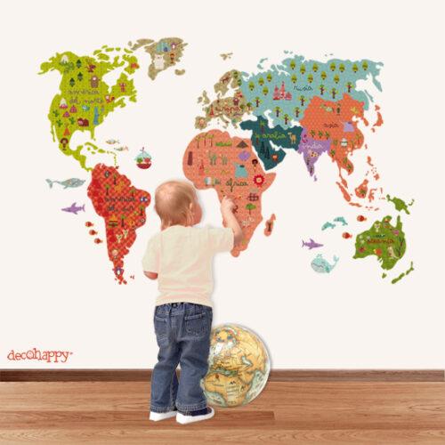 vinilos mapamundi 500x500 Mapas en las habitaciones de los niños