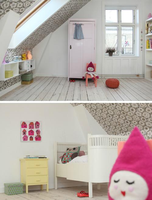 Un cuarto infantil precioso en la buhardilla de casa