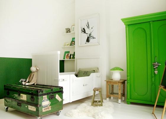ideas decoracion habitaciones niños verde Ideas de decoración infantil para bebés y niños