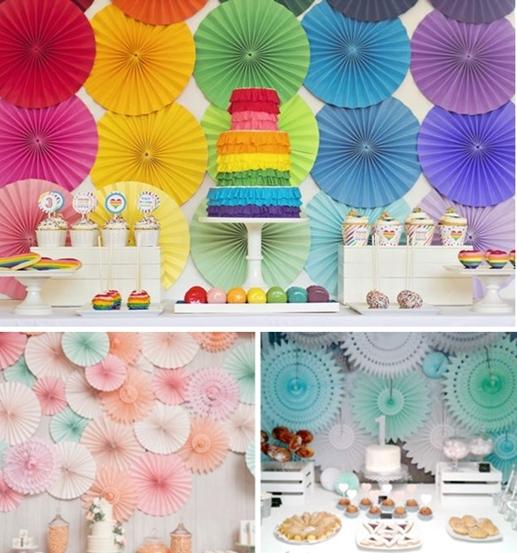 decoracion fiesta infantil abanicos 2 Las mejores ideas para decorar el fondo de la mesa de fiesta