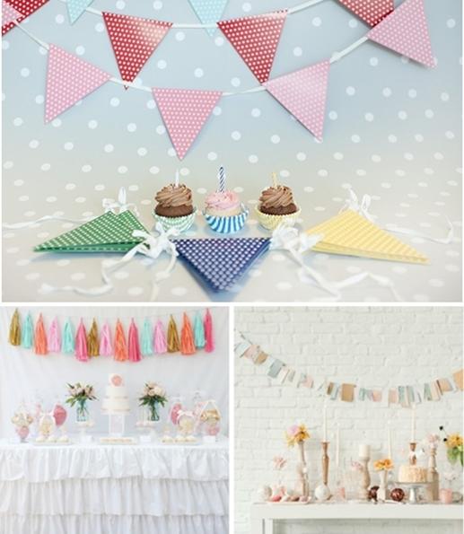 decoracion fiesta infantil banderines 2 Las mejores ideas para decorar el fondo de la mesa de fiesta