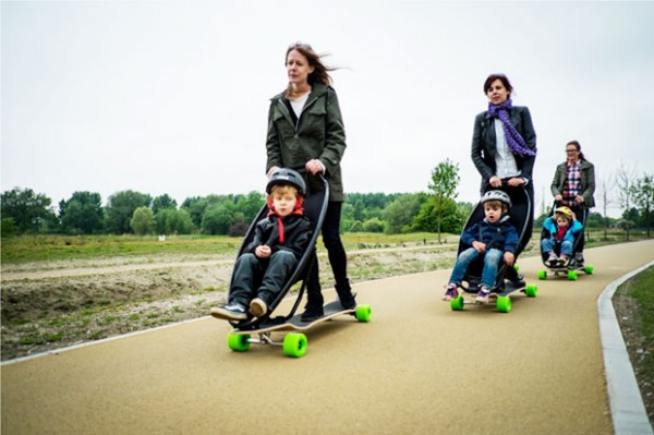 Moms-ride-with-kids-longboard-stroller-gives-a-perfect-ride