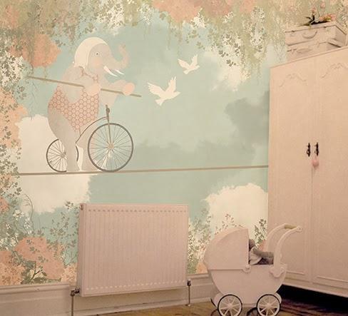 mural niños-little hands wallpaper mural - elephant girl mural blog