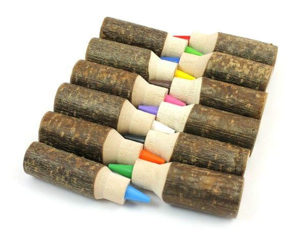 Set of 12 Interchangeable Organic Hazelnut Crayons from ZooPencils Sencillos Juguetes de Madera