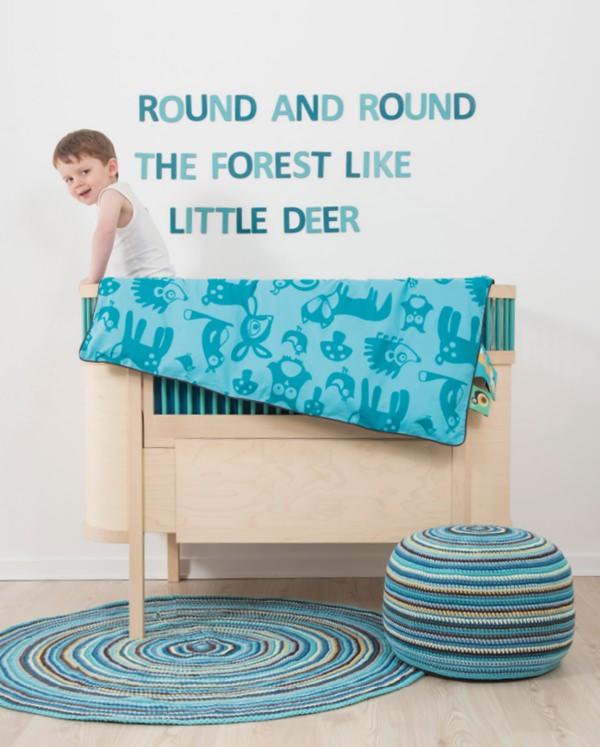 textiles cuna infantil azul Vinilos infantiles y Textiles para Bebé de Sebra