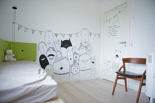 Ilustraci n en las paredes infantiles decopeques - Paredes habitaciones infantiles ...