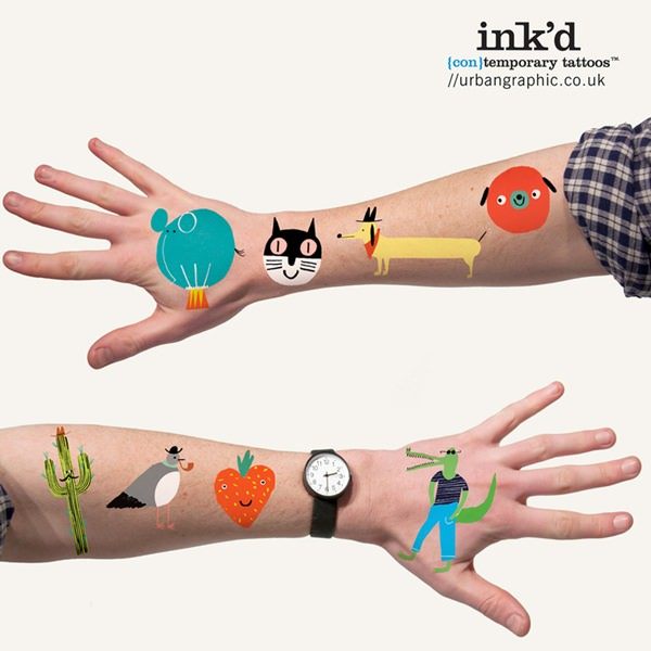 tatuajes divertidos Divertidos tatoos temporales con Inked de Urban Graphic