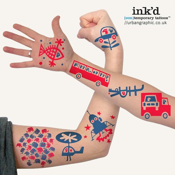 tatuajes infantiles Divertidos tatoos temporales con Inked de Urban Graphic