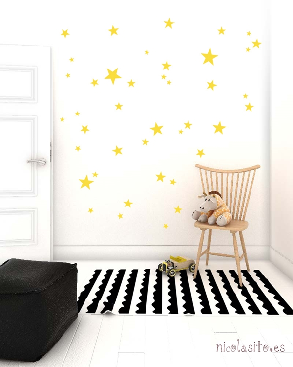 yellow stars wall stickers Los divertidos vinilos de Nicolasito