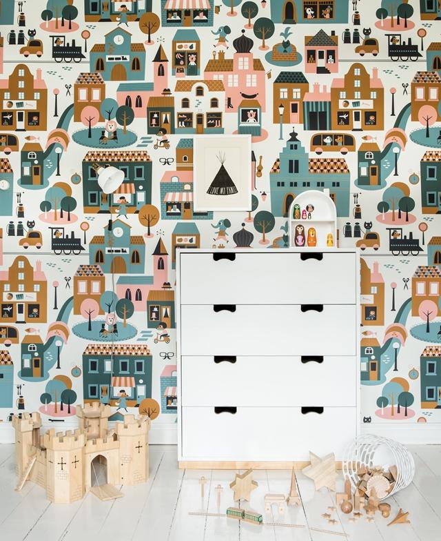 papel ciudad niños Papeles pintados para niños Fabel