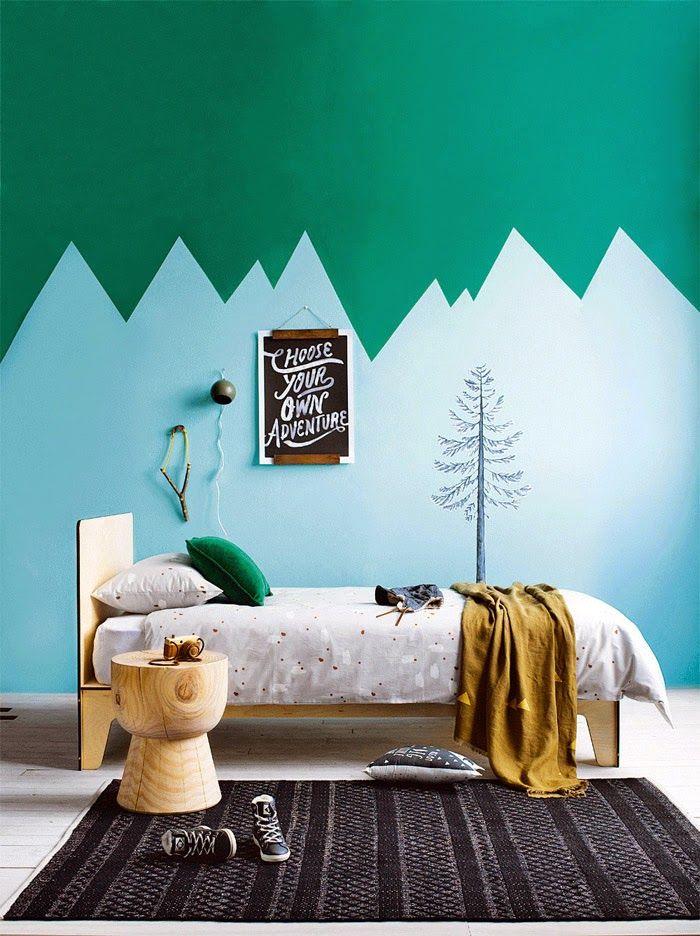 decoracion habitacion infantil montañas 6 Ideas originales para decorar las paredes del dormitorio infantil con pintura