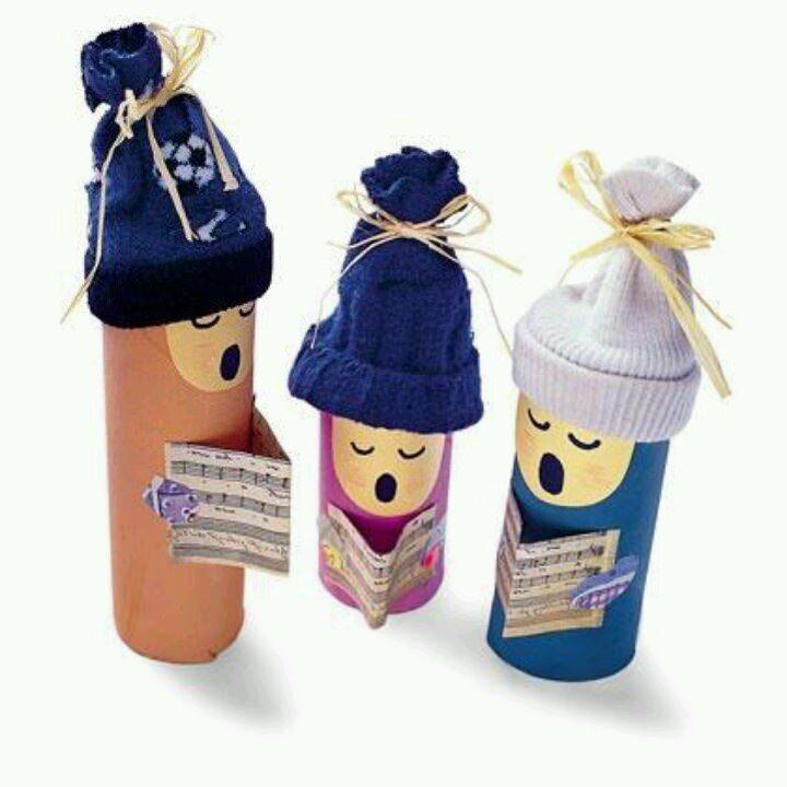 manualidades niños cantando rollos wc 7 Manualidades infantiles de Navidad con rollos de WC