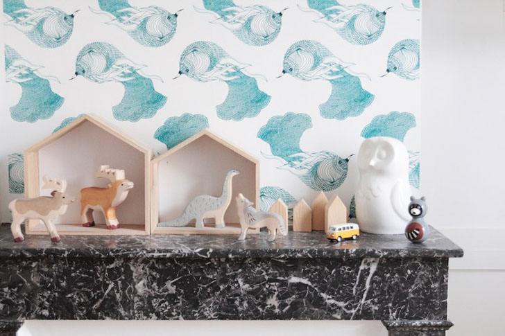 habitacion-infantil-turquesa-papel pintado