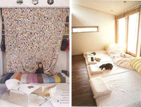 Dulces sue os camitas apoyadas en el suelo futones y colchones decopeques - Suelo habitacion ninos ...
