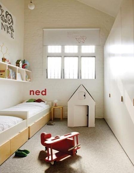 Ambientes que inspiran una habitaci n alargada decopeques - Habitacion infantil dos camas ...