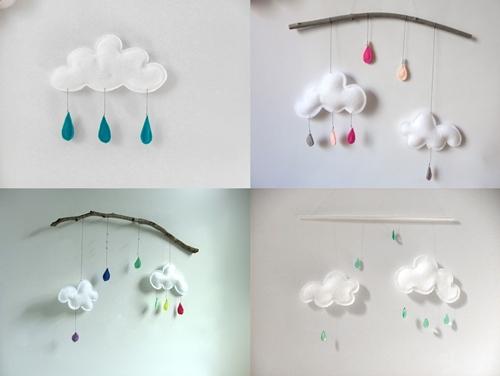 Nubes y gotitas de lluvia en la habitaci n del beb - Manualidades para decorar habitacion bebe ...