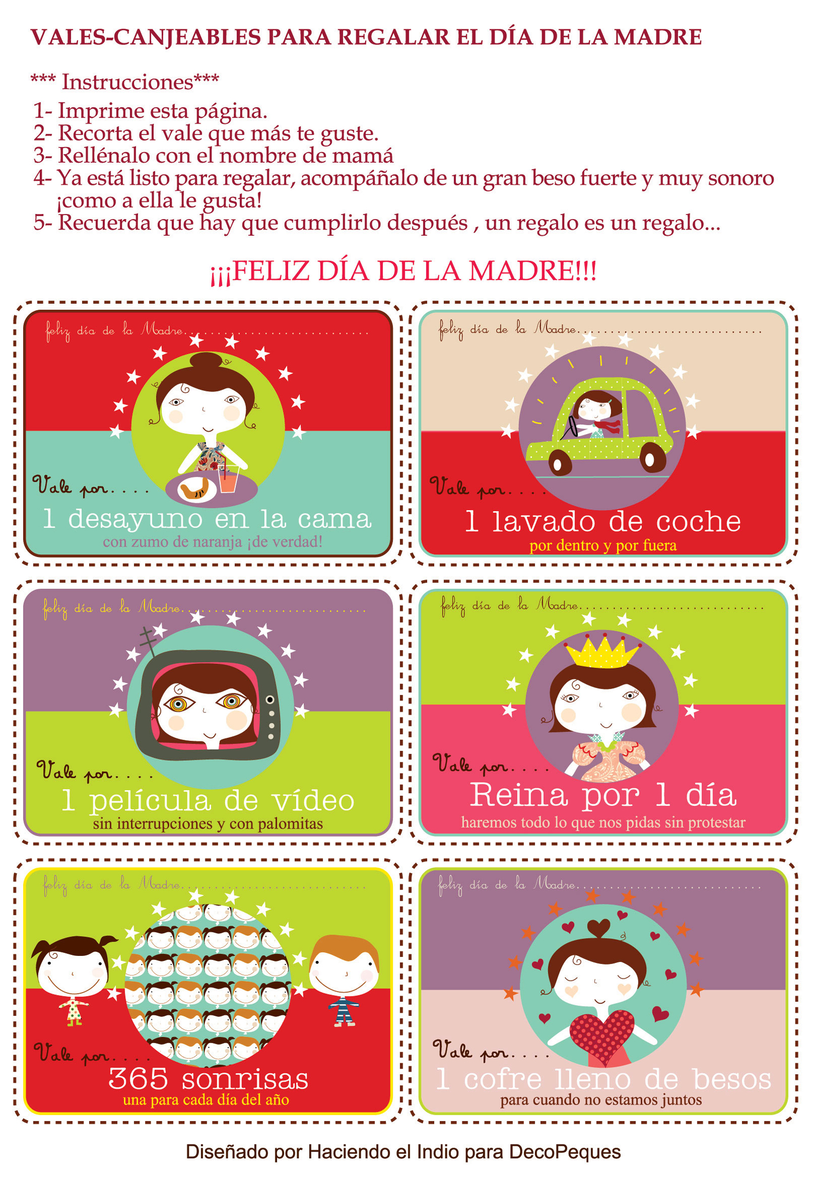 Imprimibles: Vales / Cupones de amor para San Valentn