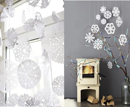 Como hacer copitos de nieve de papel