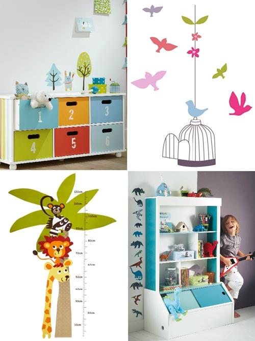Vinilos infantiles de flores y animales for Stickers para habitaciones