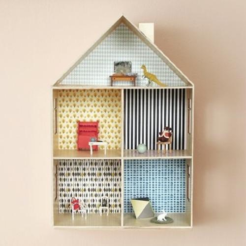 decora con papel pintado su casita de muecas