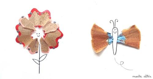 Dibujos creativos con restos de sacapuntas  DecoPeques