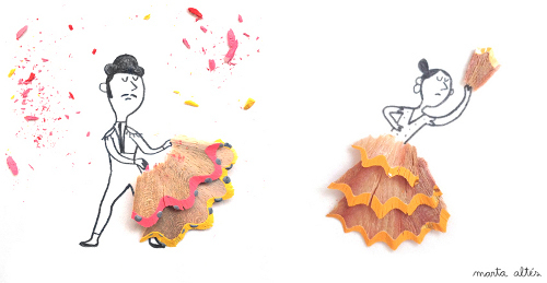 Dibujos creativos con restos de sacapuntas decopeques - Dibujos infantiles originales ...