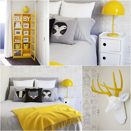 habitacion de ni a en amarillo y gris. Black Bedroom Furniture Sets. Home Design Ideas