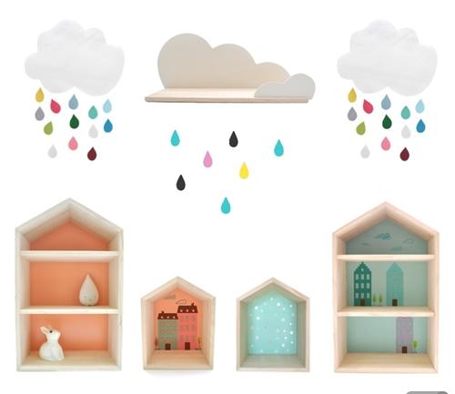 Estanterias con forma de casita y vinilos infantiles for Estanteria pared infantil