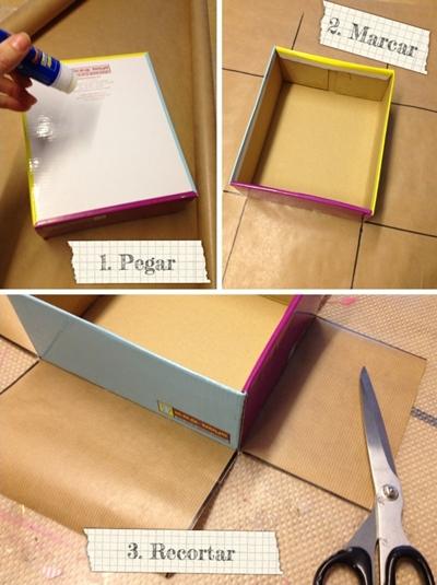 Manualidad para ni os con una caja de cart n - Forrar cajas de carton con telas ...