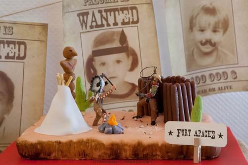 tarta de cumpleaños indios y vaqueros
