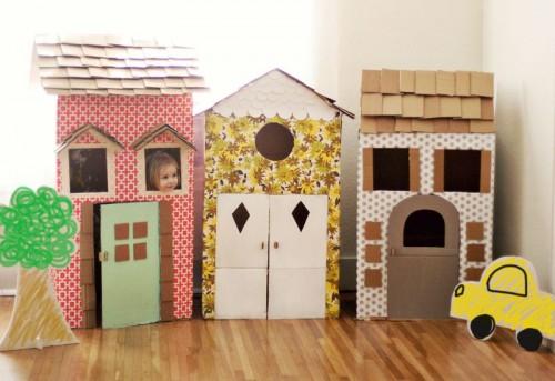 como hacer casitas de carton para los niños