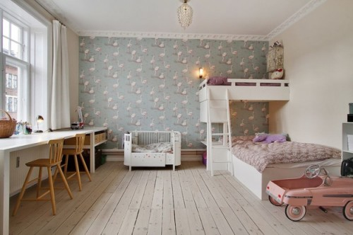 10 habitaciones infantiles con papel pintado decopeques for Papeles para empapelar dormitorios