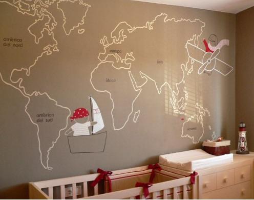 Mapas en las habitaciones de los ni os decopeques for Como pintar un mural en una pared