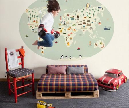 Mapas en las habitaciones de los ni os decopeques - Papel pintado mapamundi ...