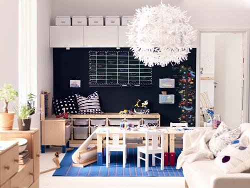 Habitacion infantil con pintura de pizarra-catalogo ikea 2014
