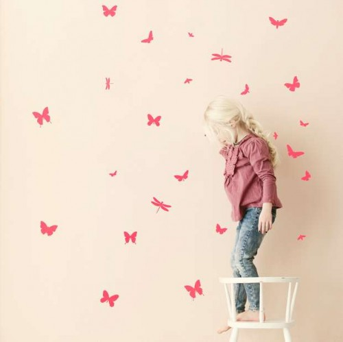 vinilos-infantiles-mariposas-rosas